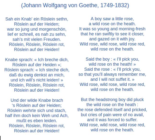 Das heidenroslein gedicht