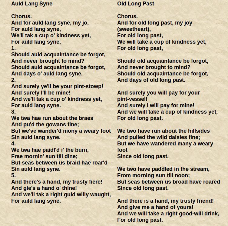 Lyric same old lang syne lyrics : Songs | Classical Music
